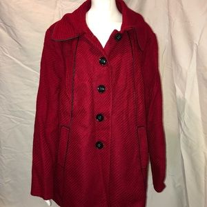 Simonton Says Wool Blend Peacoat Red NWT 2x